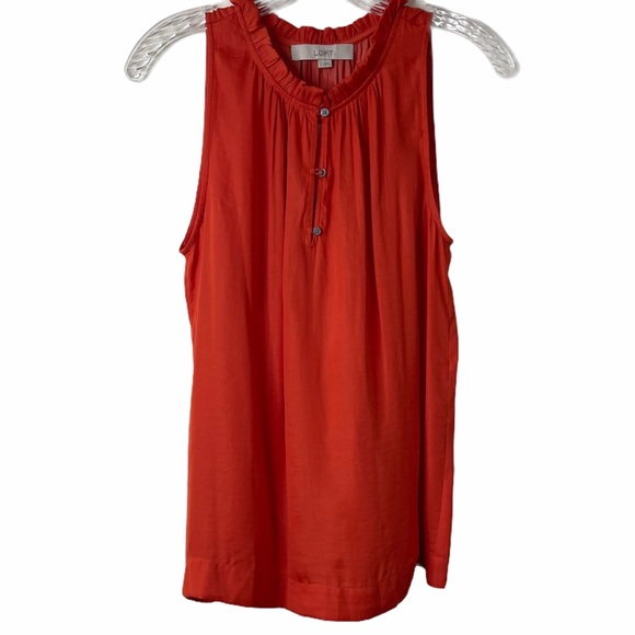 Ann Taylor LOFT Red Ruffled Neck Tank Top Size S